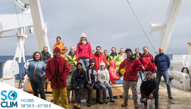 the SOCLIM team has traveled the Southern Indian Ocean onboard R/V Marion Dufresne